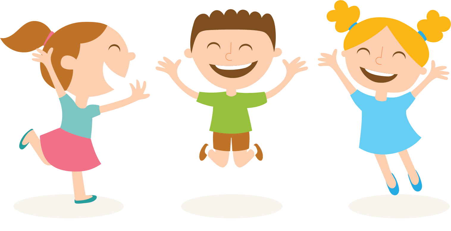 cartoon illustration of three children