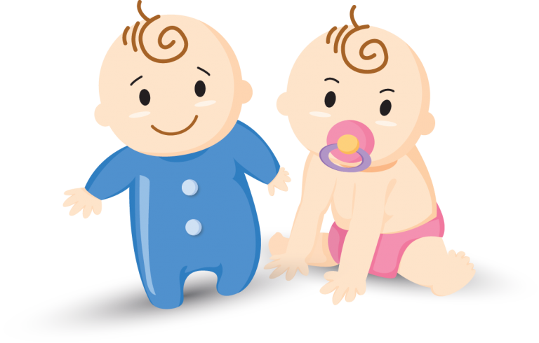 cartoon illustration of two infants
